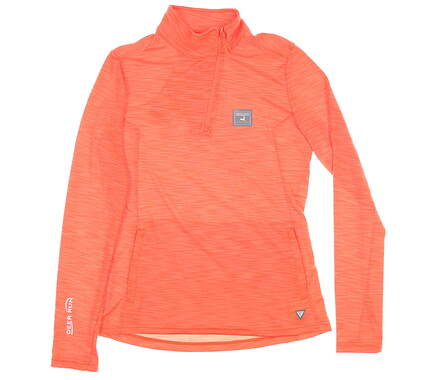 New W/ Logo Womens Level Wear 1/4 Zip Pullover Small S Orange MSRP $65