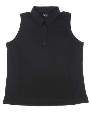 New Womens Adidas Sleeveless Golf Polo X-Large XL Black MSRP $45 P16986