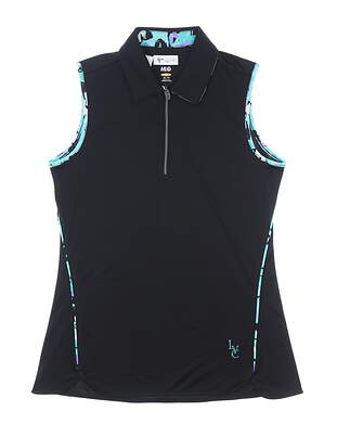 New W/ Logo Womens Greg Norman Sleeveless Golf Polo X-Small XS Black MSRP $70
