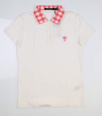 New W/ Logo Womens Ralph Lauren Golf Polo Small S White/Mango MSRP $100