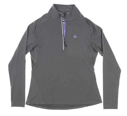 New W/ Logo Womens Level Wear 1/2 Zip Golf Pullover Large L Gray MSRP $75 JL00L