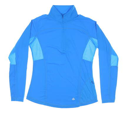 New W/ Logo Womens Footjoy 1/4 Golf Zip Pullover Large L Electric Blue MSRP $85