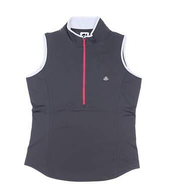 New W/ Logo Womens Footjoy Sleeveless Golf Polo Large L Gray MSRP $75 22925