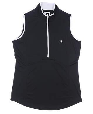 New W/ Logo Womens Footjoy Sleeveless Golf Polo Small S Black MSRP $75 22923