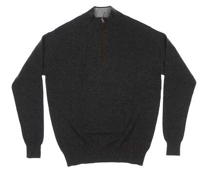 New Mens Dunhill 1/4 Zip Cashmere Sweater Medium M Gray MSRP $295