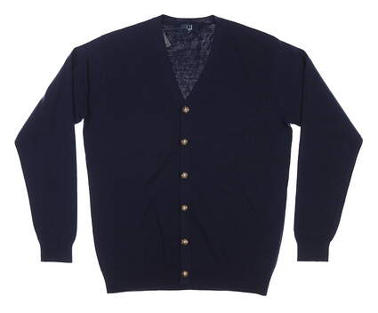 New Mens Dunhill Cardigan Sweater Large L Navy Blue MSRP $70