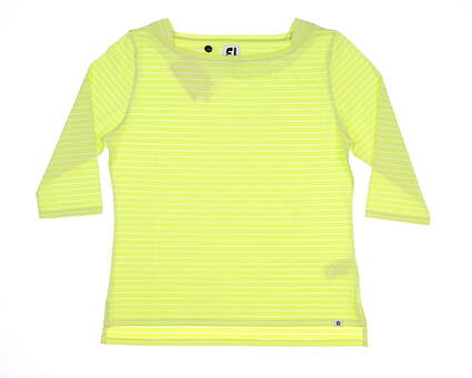 New Womens Footjoy 3/4 Sleeve Boat Neck Large L Lime MSRP $75 27393