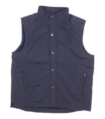 New Mens Greg Norman Full Zip Golf Vest Large L Navy Blue MSRP $120