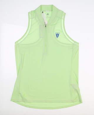 New W/ Logo Womens Adidas Sport Mesh Sleeveless Polo Medium M Green MSRP $68 DZ0877