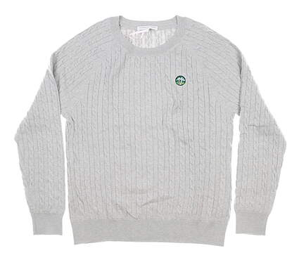 New W/ Logo Womens Fairway & Greene Paige Cable Sweater Large L Gray MSRP $140 I12170