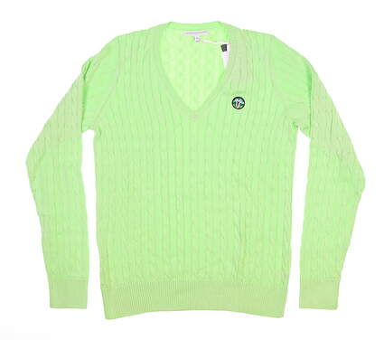 New W/ Logo Womens Fairway & Greene Perry Cable Sweater Medium M Green MSRP $140 D32178