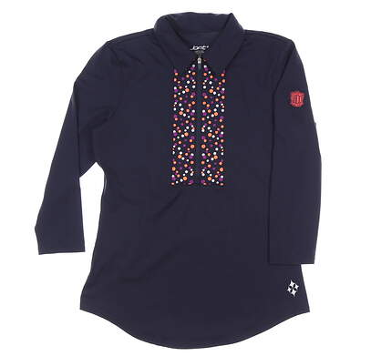 New W/ Logo Womens Jo Fit Embroidered 3/4 Sleeve Polo X-Small XS Navy Blue MSRP $106 GT301-MDN