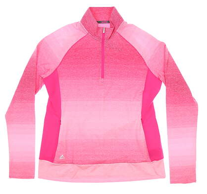 New Womens Adidas 1/4 Zip Pullover Large L Pink MSRP $80
