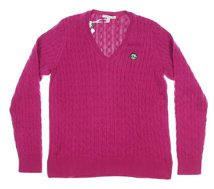 New W/ Logo Womens Fairway & Green Perry Cable Sweater Large L Pink MSRP $140 D32178