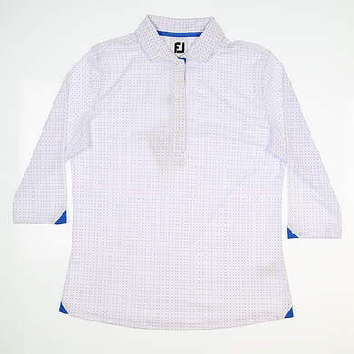 New Womens Footjoy 3/4 Sleeve Golf Polo Medium M White MSRP $95 27585