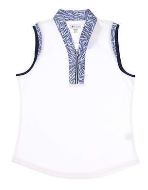 New Womens Greg Norman Sleeveless Golf Polo Medium M White MSRP $75 g2S9K905