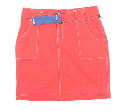 New Womens Jo Fit Belted Golf Skort 10 Red MSRP $90 GB616-TMO