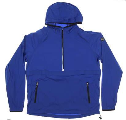 New Mens Cutter & Buck Breaker Hooded Half-Zip Jacket Large L Tour Blue MSRP $120