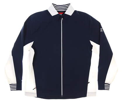 New Mens Cutter & Buck Full-Zip Jacket Medium M Navy/ White MSRP $120