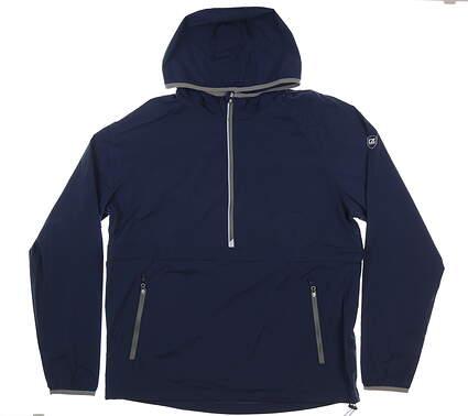 New Mens Cutter & Buck Breaker Hooded Half-Zip Jacket Large L Navy MSRP $120 MCO00040