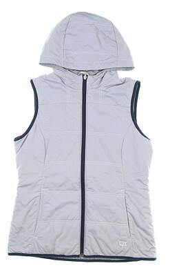 New Womens Cutter & Buck Cora Reversible Hooded Vest Medium M Gray MSRP $145 LCO00010