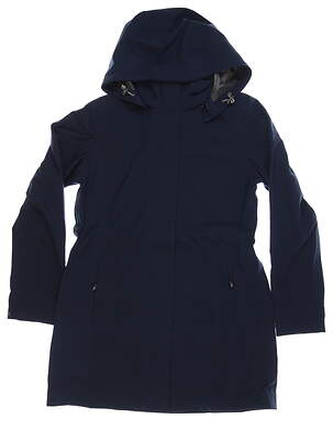 New Womens Cutter & Buck Shield Hooded Jacket Medium M Navy Blue MSRP $280 LCO00028