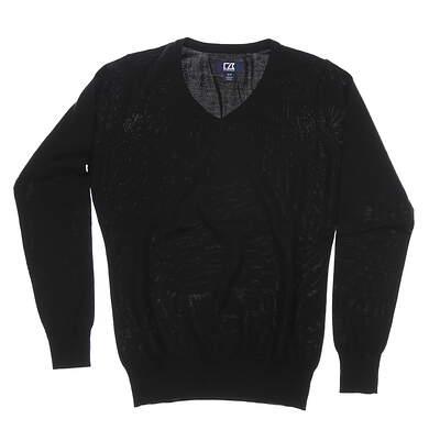 New Womens Cutter & Buck Douglas V-Neck Sweater Medium M Black MSRP $115 LCS04774