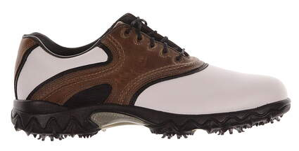 New Mens Golf Shoe Footjoy Contour Series Wide 8 White/Brown MSRP $110 54024