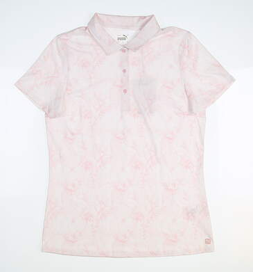 New Womens Puma Cloudspun Tropical Polo Small S Parfait Pink MSRP $60 531203 03