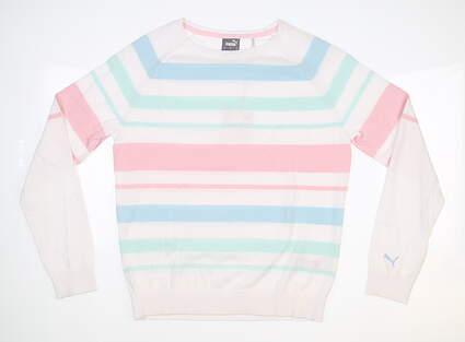 New Womens Puma Ribbon Sweater Small S Parfait Pink/ Fair Aqua MSRP $80 599268 05