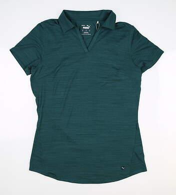 New Womens Puma Cloudspun Free Polo Small S Deep Teal MSRP $60 597695 20