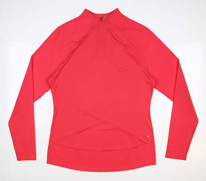 New Womens Puma Mesh 1/4 Zip Pullover Small S Teaberry MSRP $70 595848 17