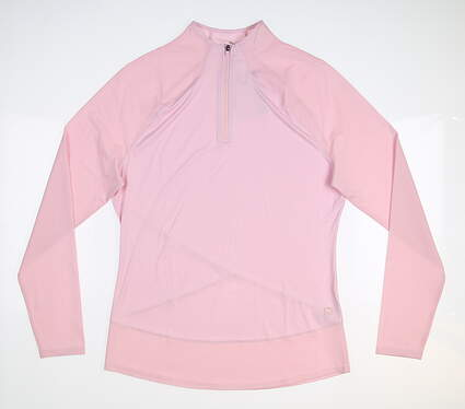 New Womens Puma Mesh 1/4 Zip Pullover Small S Parfait Pink MSRP $70 595848 21