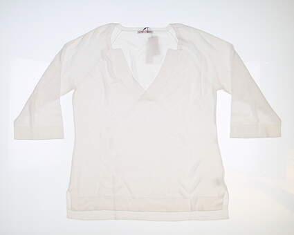 New Womens Peter Millar Sweater Medium M White MSRP $198 LS18S09