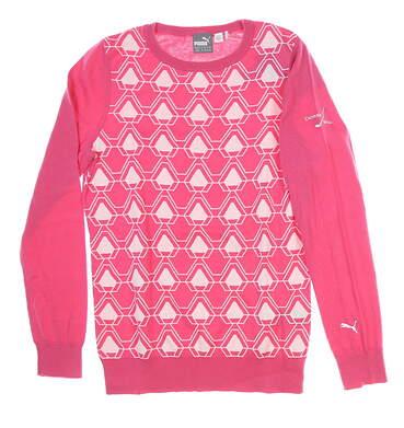 New W/ Logo Womens Puma Dassier Sweater Medium M Pink MSRP $80 576150