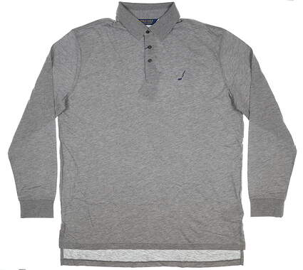 New W/ Logo Mens Ralph Lauren Long Sleeve Golf Polo Large L Gray MSRP $139