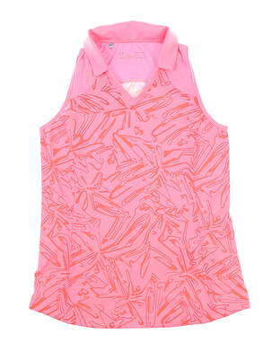 New Womens Under Armour Sleeveless Golf Polo Large L Pink MSRP $60