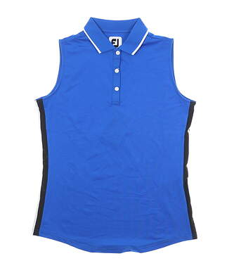 New Womens Footjoy Sleeveless Lisle Golf Polo Medium M Royal MSRP $85 25469