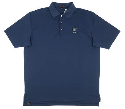 New W/ Logo Mens Peter Millar Golf Polo X-Large XL Navy Blue MSRP $80 MC00EK01