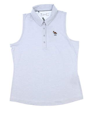 New W/ Logo Womens Under Armour Golf Sleeveless Polo Large L Gray MSRP $68 UW0468