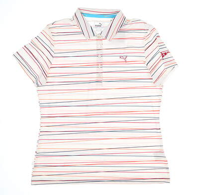New W/ Logo Womens Puma Road Map Stripe Polo Large L Multi MSRP $75 570532 01