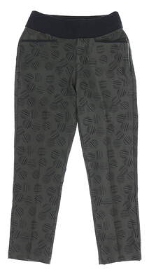 New Womens Adidas Print Pull On Cropped Pants Small S Green MSRP $85 DZ6390