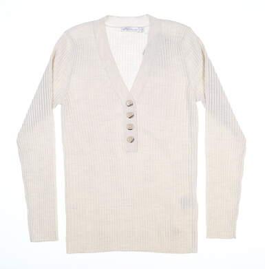 New Womens Peter Millar The York Ribbed Sweater Medium M Ivory MSRP $195 LF19S26