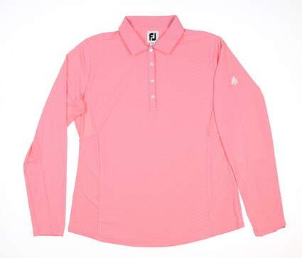 New W/ Logo Womens Footjoy Dot Print Long Sleeve Polo Large L Pink MSRP $80 27548