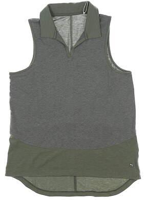 New Womens Puma Mesh Sleeveless Polo Small S Thyme MSRP $55 597694 02