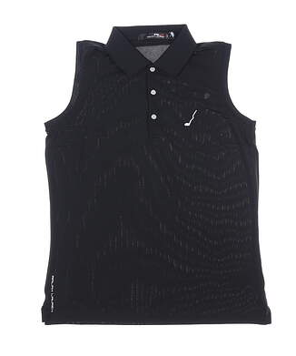 New W/ Logo Womens Ralph Lauren RLX Sleeveless Golf Polo Medium M Black MSRP $89