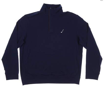New W/ Logo Mens Ralph Lauren 1/4 Zip Golf Pullover X-Large Navy Blue MSRP $124