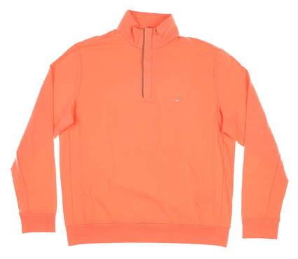 New W/ Logo Mens Ralph Lauren 1/4 Zip Pullover Large L Orange MSRP $124