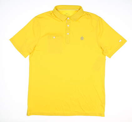New W/ Logo Mens Nike Golf Polo X-Large XL Yellow MSRP $88 AT8940 703