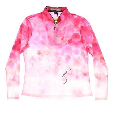 New Womens Jamie Sadock 1/4 Zip Golf Pullover Medium M Pink MSRP $85 91127